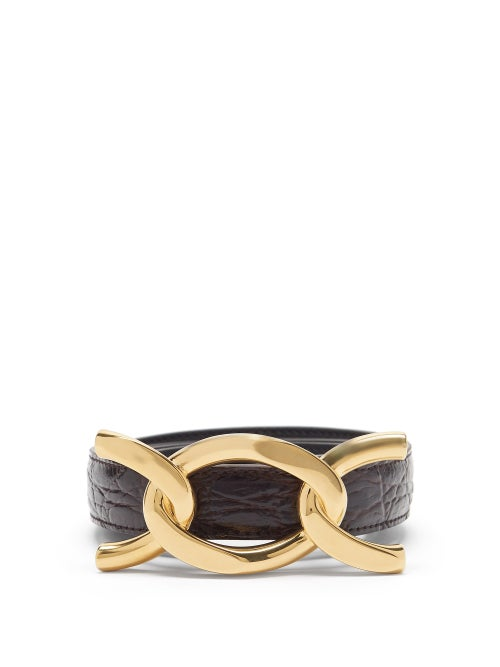 Saint Laurent - Chain-buckle Crackled-leather Belt - Womens - Brown