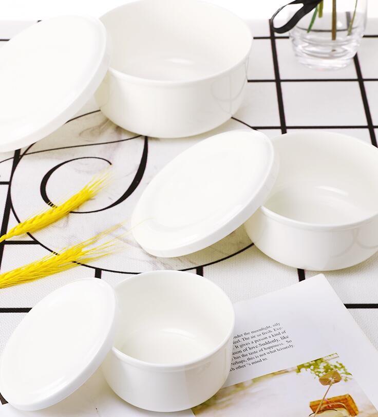陶瓷碗 帶蓋微波爐碗骨瓷唐山簡奧骨質瓷保鮮碗大號泡面碗 - 三件套大中小