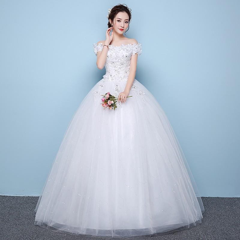 蕾絲花朵白色婚禮新娘禮服晚禮服
