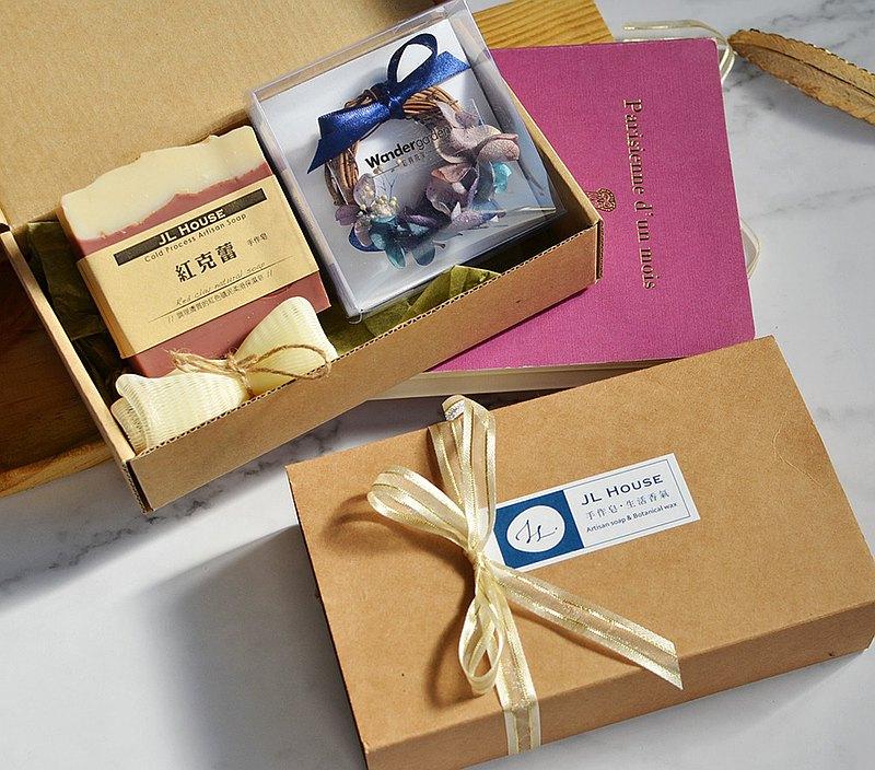 花與夢 禮物-冷製手工皂與花圈卡片,聯名禮盒 交換禮物