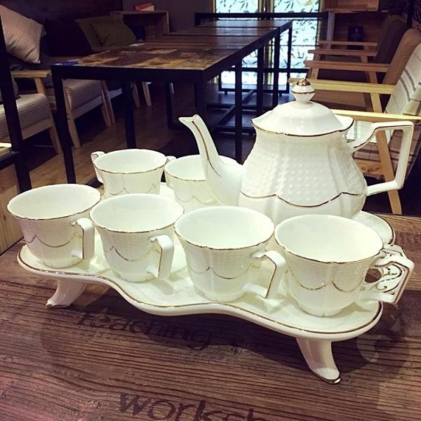 歐式骨瓷咖啡杯套裝英式高檔下午茶茶具創意陶瓷杯簡約家用花茶杯【免運】