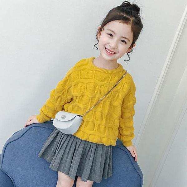 女童洋裝 2021秋季裝新款韓版時髦短裙針織打底半身裙百褶裙高腰蓬蓬裙子 8號店