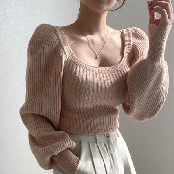 泡泡袖上衣 韓國毛衣女秋冬外穿短款法式慵懶風寬鬆燈籠泡泡袖方領針織衫上衣 韓國時尚週