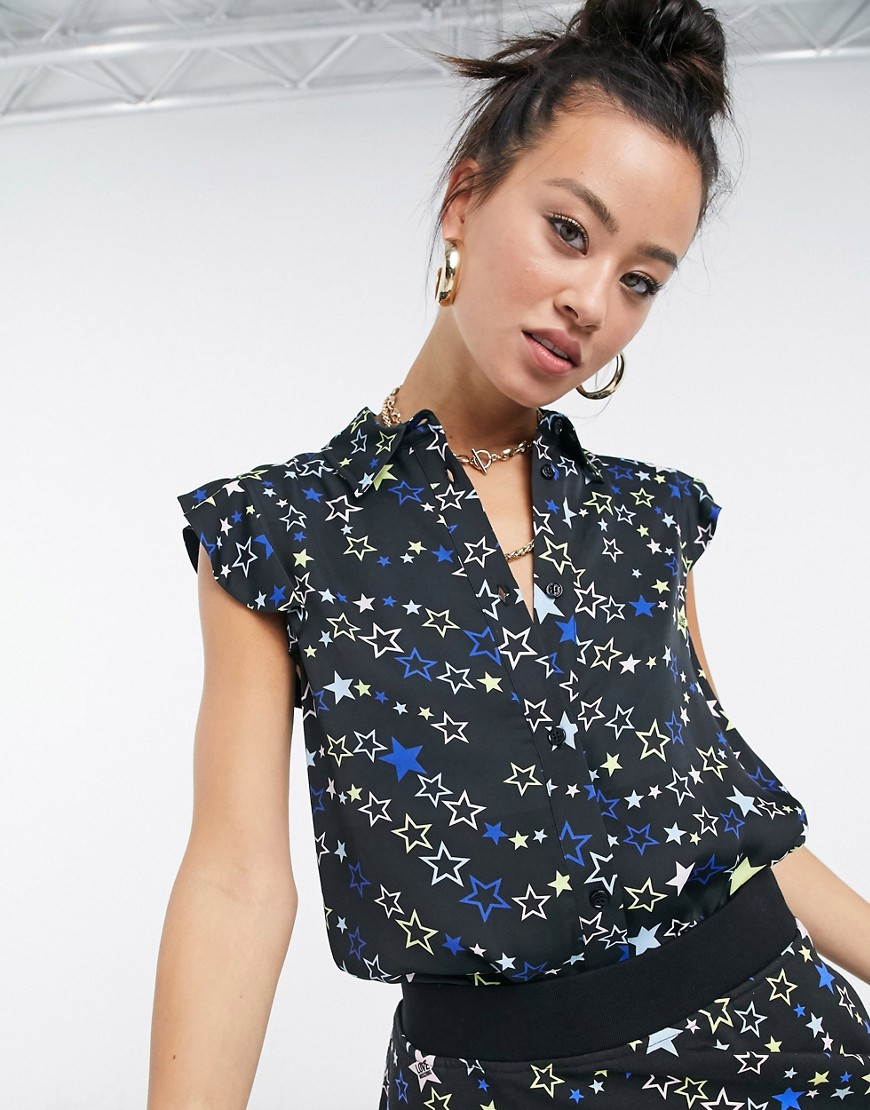 Love Moschino star print blouse in black