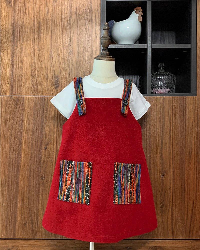 童裝紅色口袋吊帶連身裙