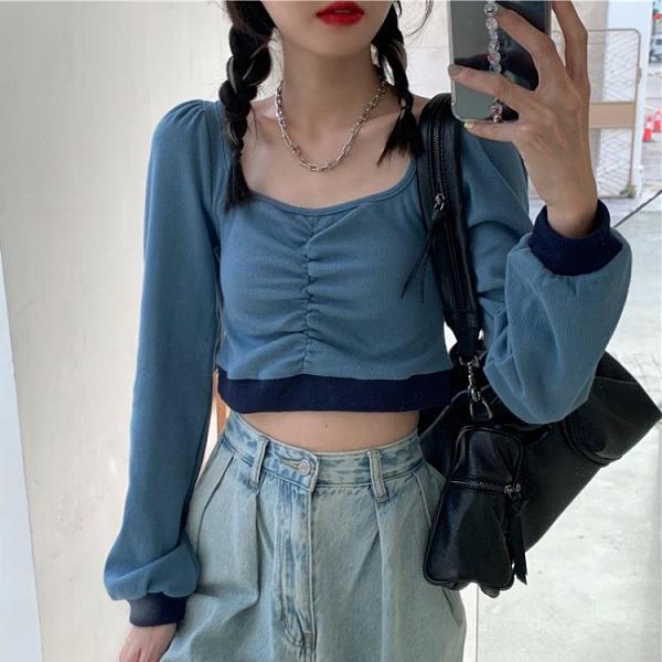 泡泡袖上衣 方領泡泡袖短款長袖T恤女裝2021秋季新款韓版修身露臍上衣打底衫 韓國時尚週