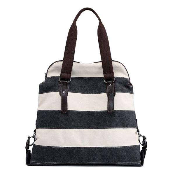 Sparklol 休閒條紋二用帆布旅行袋 / 肩背包 / 手提包
