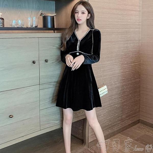 晚禮服金絲絨洋裝秋冬洋氣新款女法式名媛氣質黑色顯瘦a字短款晚禮服 新年特惠