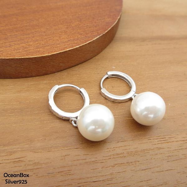 §海洋盒子§簡單風格珍珠菱格針式易扣925純銀耳環 (925純銀外鍍專櫃級正白K)