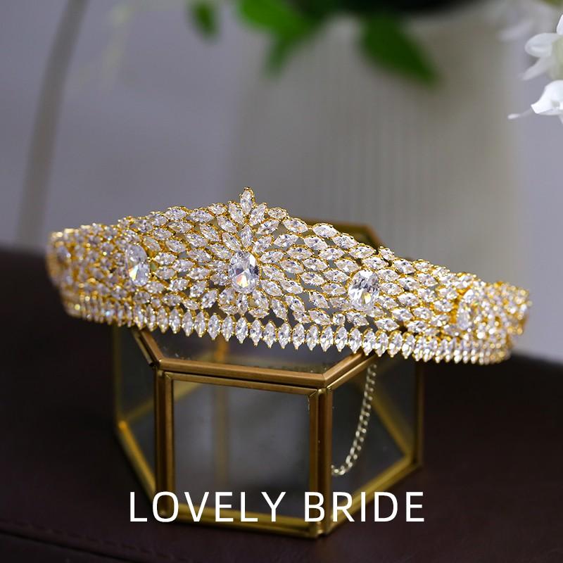 @新品下殺@可愛新娘韓式新娘婚禮皇冠頭飾奢華歐式復古鋯石微鑲王冠婚紗配飾