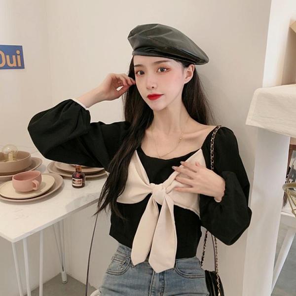 泡泡袖上衣 方領上衣女設計感復古港味短款2021新款春秋季泡泡袖黑色長袖襯衫 韓國時尚週