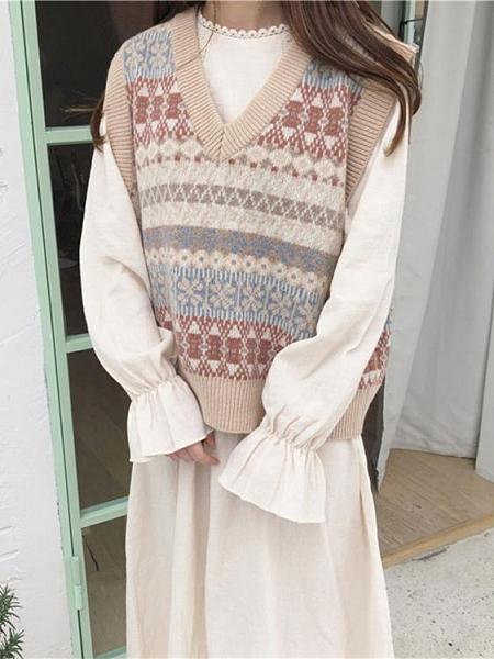 學院風毛衣馬甲背心女秋裝2021新款韓版寬鬆V領無袖學生針織馬夾 伊蘿