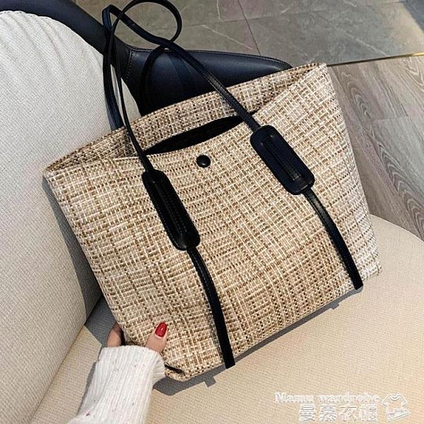 托特包 包包2021新款潮大容量側背包女士帆布包秋冬時尚手提包百搭托特包 曼慕