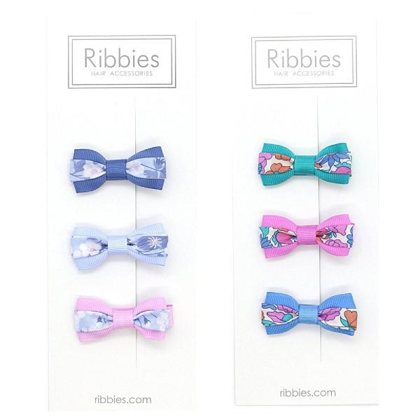 英國 Ribbies 雙色緞帶蝴蝶結3入組|髮飾|髮夾(2款可選)
