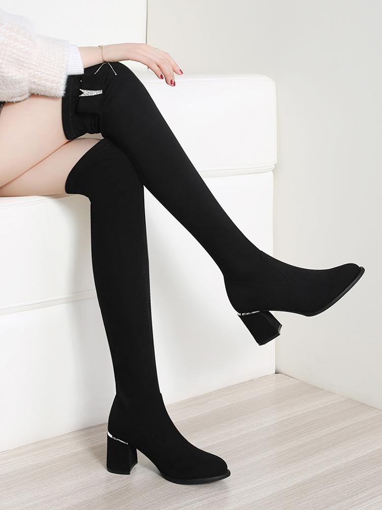 過膝長靴女2020年新款顯瘦高筒秋冬季粗跟彈力中跟瘦瘦高跟長筒靴