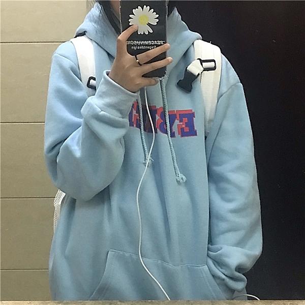 連帽外套 2021秋冬裝新款韓版復古簡約字母印花連帽加絨衛衣學生男女ins潮 韓國時尚週