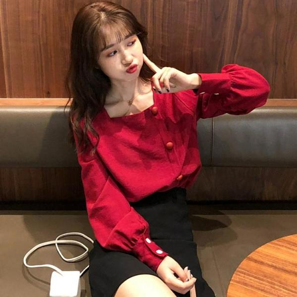 泡泡袖上衣 秋季2021新款韓版洋氣寬鬆長袖襯衫女法式小眾方領泡泡袖上衣襯衣 韓國時尚週
