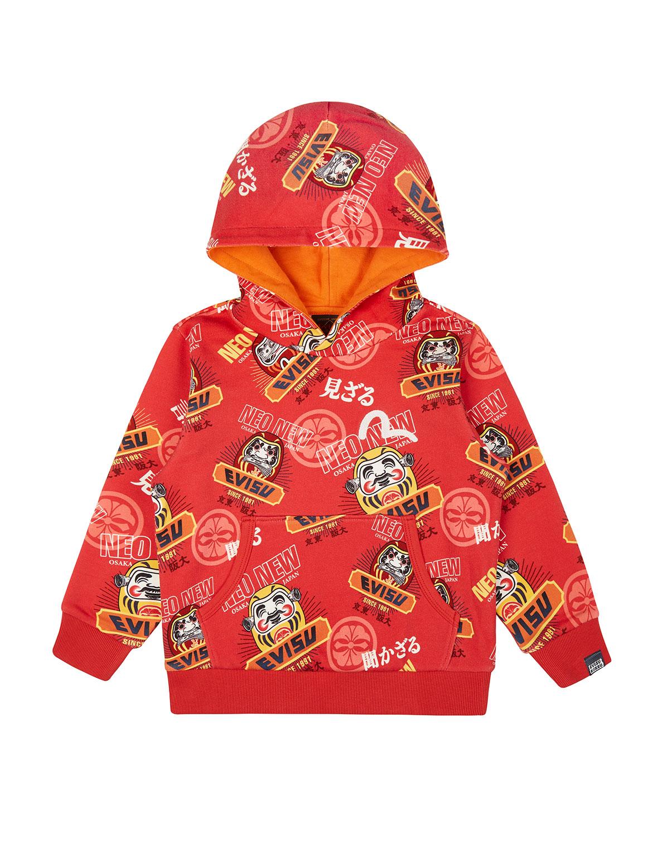 Allover Daruma and Kamon Print Hooded Sweatshirt