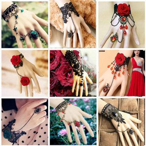 【買三送一水晶蕾絲手鏈帶戒指女閨蜜手鏈表演手飾古風手飾品配飾最新款1121