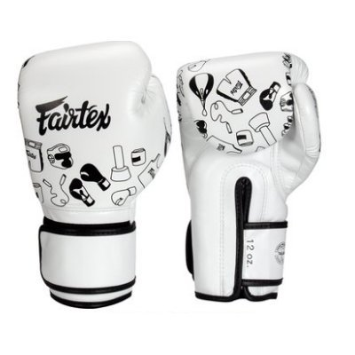 [古川小夫] Fairtex 10oz 新款圖案 健身房拳擊手套~重擊打沙袋拳套~個性化改裝 - 白色塗層 BGV14