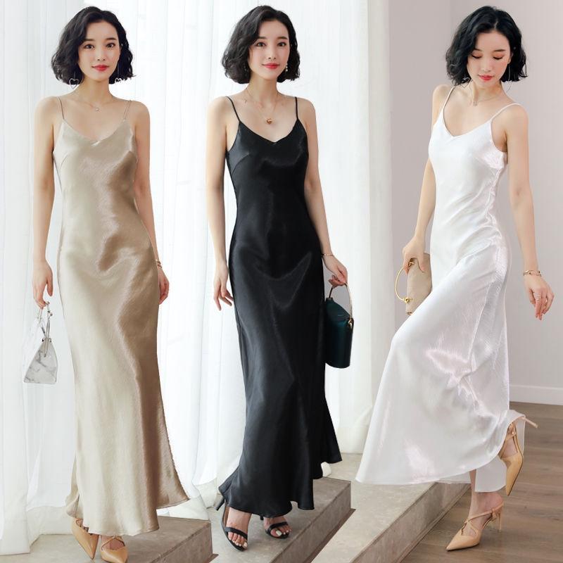 吊帶裙連衣裙女長裙打底內搭襯裙仿真絲度假沙灘裙緞面絲綢大碼潮显瘦527