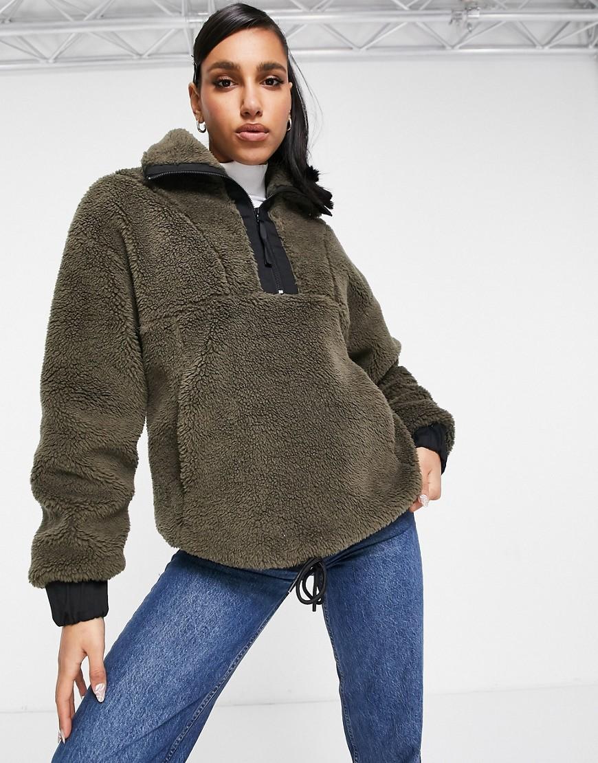 Varley appleton half-zip sherpa fleece in khaki-Green
