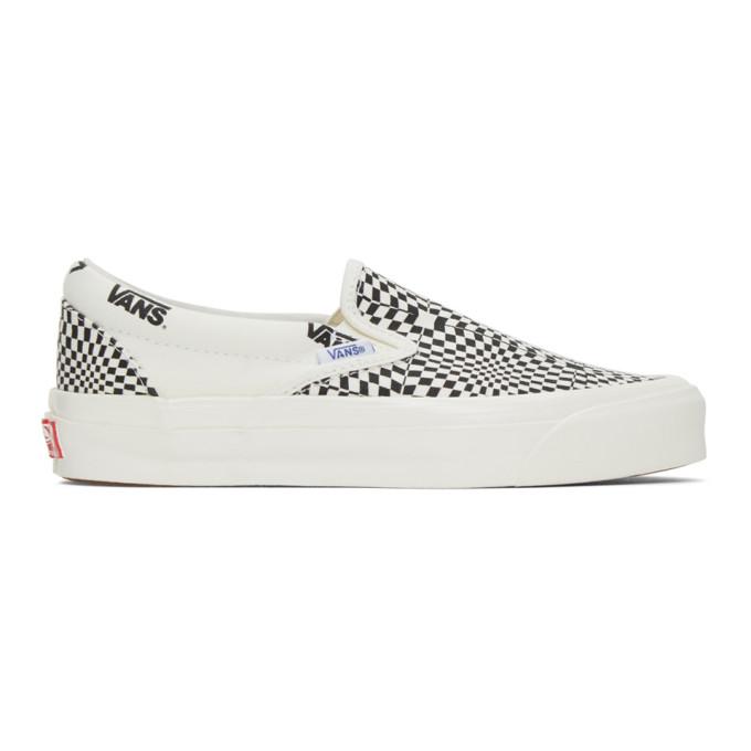 Vans 黑色 and 灰白色 OG Classic LX 格纹无带运动鞋