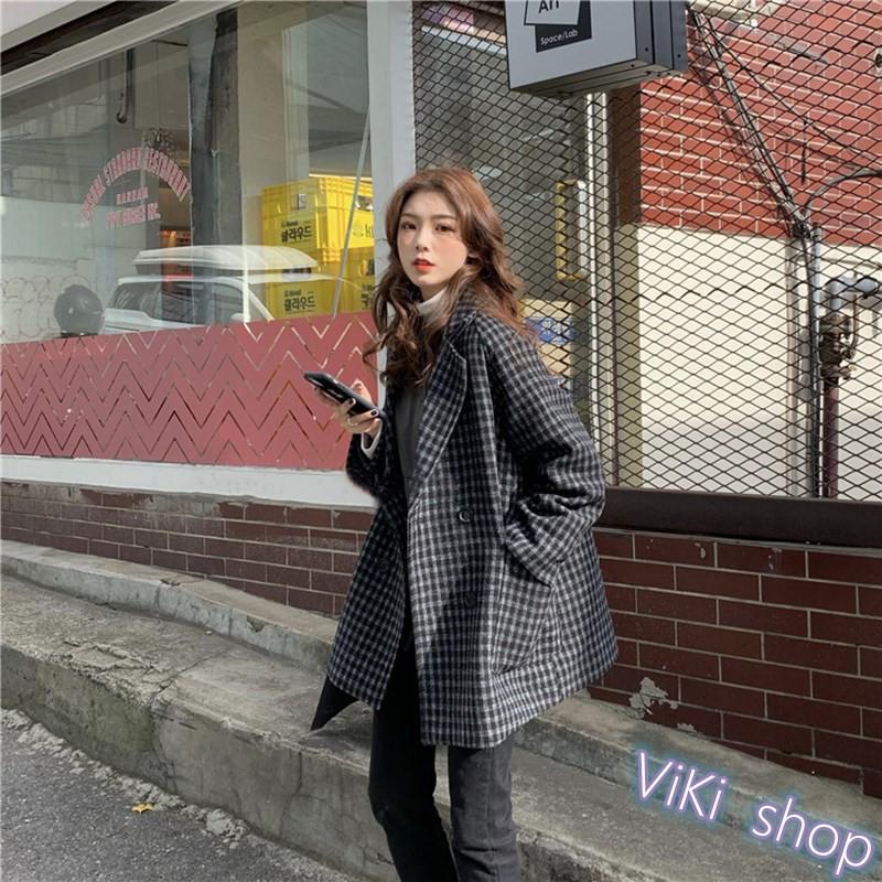 【ViKi】韓版 新款森系夾棉加厚寬鬆中長款格子西裝領長袖毛呢外套 女裝[W10]