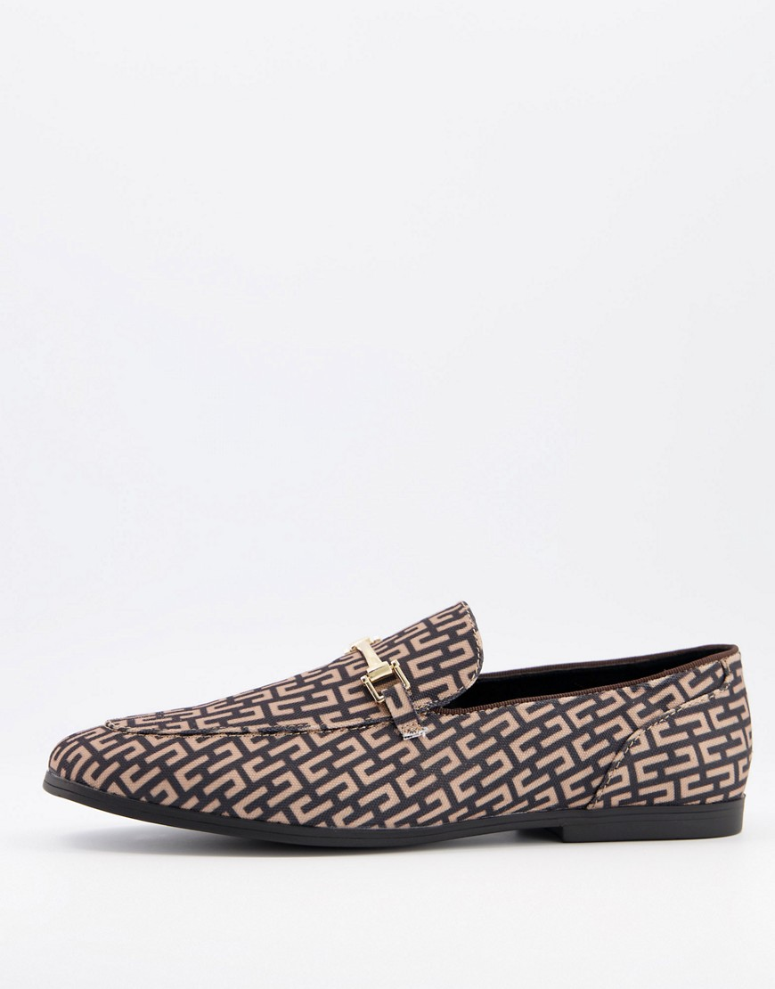 ASOS DESIGN loafers in brown monogram print with gold snaffle