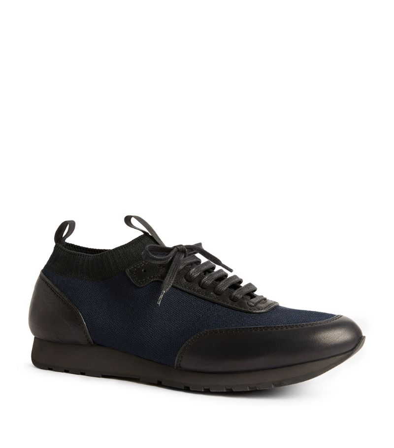 Brioni Leather Knitted-Panel Sneakers