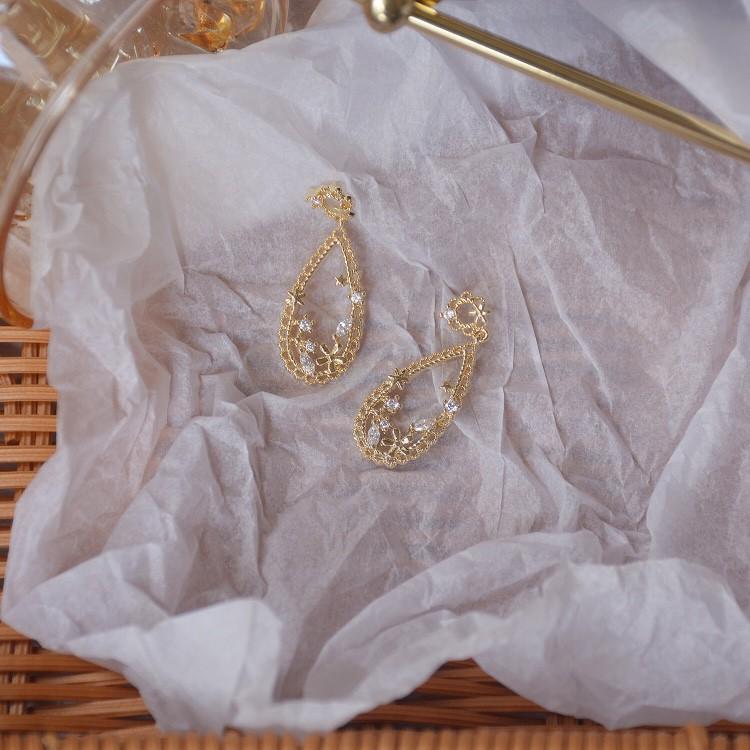 925銀針韓國東大門耳環女冷淡風復古氣質搭 鏤空金屬花朵耳釘耳飾 C385