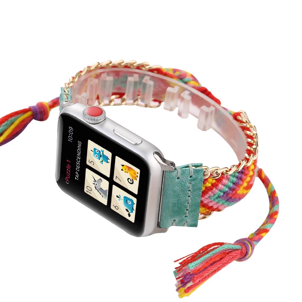適用蘋果手錶錶帶 apple watch毛線編織錶帶 iwatch手工編織錶帶