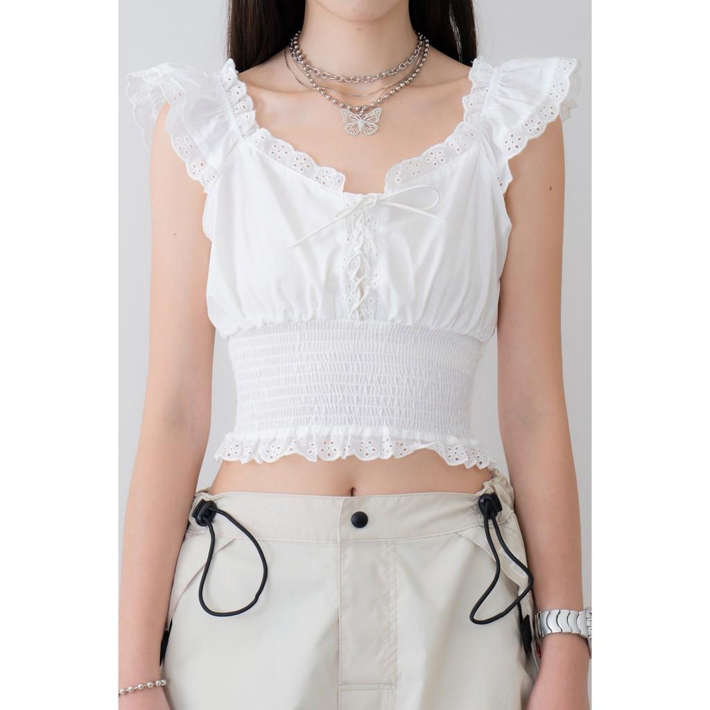 #孔雀花子白色綁帶短版上衣 三隻孔雀花的呢喃