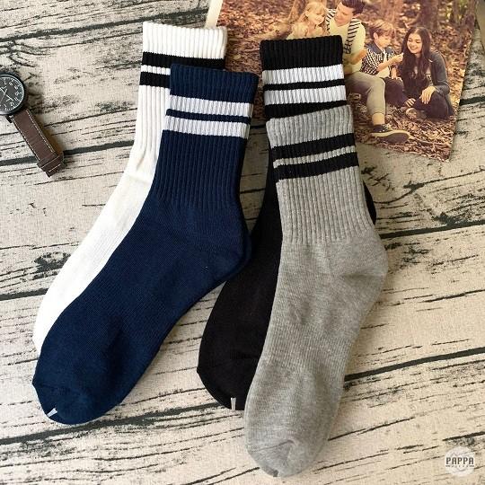 PAPPA WOCKS 不敗條紋氣墊運動長襪 男 買6送1 台灣製 精梳純棉 男長襪 條紋襪 厚底襪 籃球襪 素色長襪