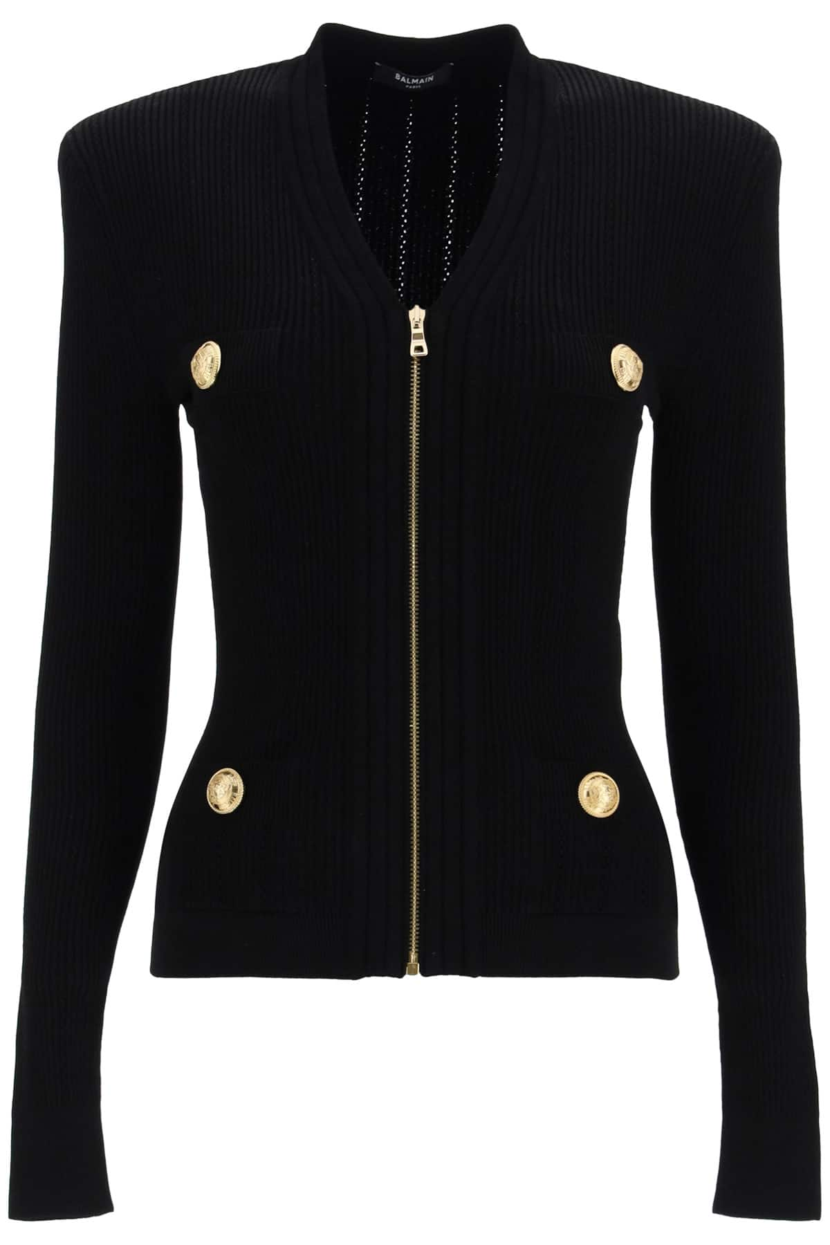 BALMAIN KNITTED CARDIGAN WITH ZIP 36 Black