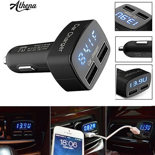 適用於iPhone三星的車載充電器USB電壓電流表測試儀適配器