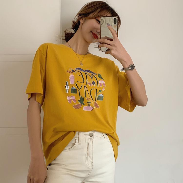 實拍棉短袖t恤女裝夏裝韓版大碼女裝38885 GT2270A依菲貝拉