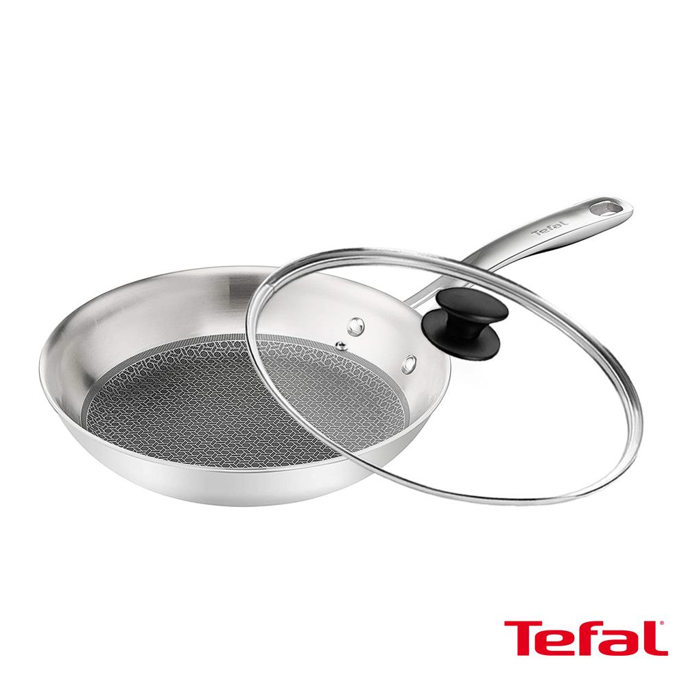 Tefal法國特福 抗磨不鏽鋼系列28CM蜂巢式平底鍋+玻璃蓋 SE-E4970634+SE-FP0028301