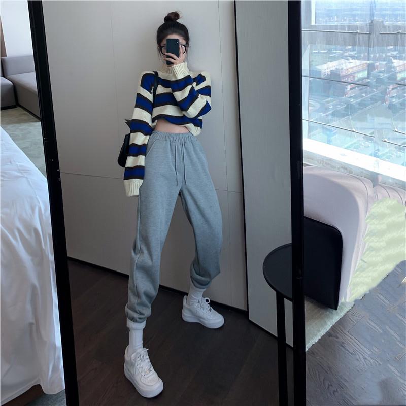灰色運動休閒衛褲女秋冬加厚2020年新款高腰直筒寬鬆長褲束腳褲子