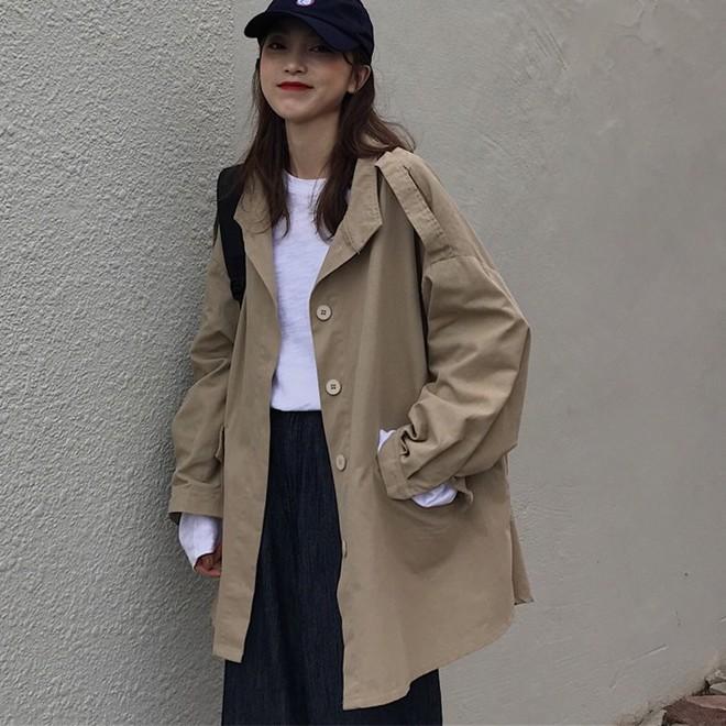【超正!現貨】新款韓版寬鬆百搭中長款風衣外套 小個子上衣 工裝風外套 大尺碼女裝外套
