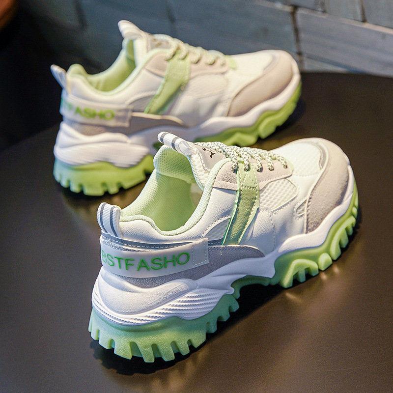 反光老爹鞋女2020韓版秋季新款透氣網面厚底運動鞋休閒百搭跑步鞋