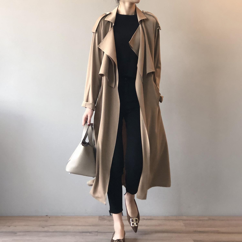 2020秋季新款时尚气质长款风衣女复古英伦风宽松外套女0965