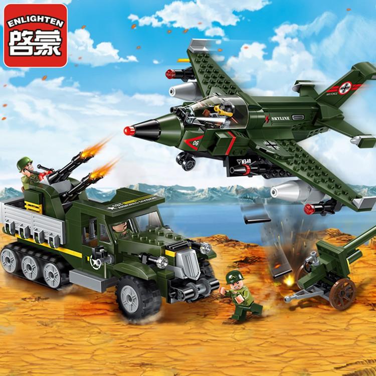 [7-4]兼容樂高啟蒙軍事系列陸空大對決兒童益智拼裝積木男孩玩具1710