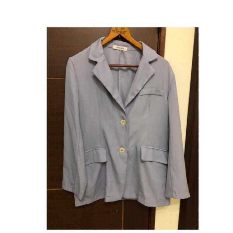 韓版灰藍西裝外套,莫蘭迪色