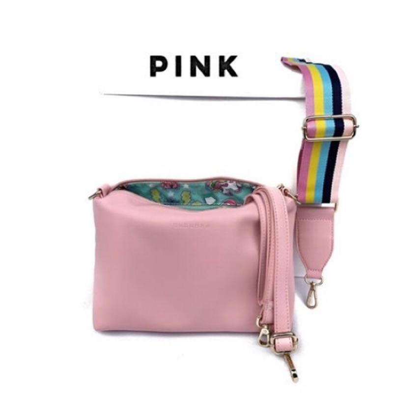 <現貨>粉紅色泰國bubuBee設計品牌繽紛斜背包/肩背包/側背包(馬卡龍色系)-粉紅