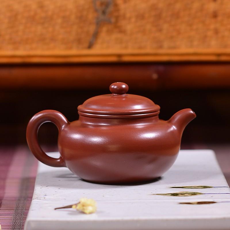【茶壺】全手工紫砂壺 名家大紅袍仿古壺純原礦朱泥 扁腹茶壺茶具套裝