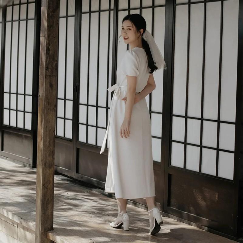 晚禮服女2020新款宴會氣質白色簡約平時可穿小禮服法式顯瘦輕婚紗