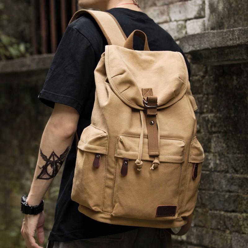 《旅行背包》復古男士帆布雙肩包高中大學生書包潮流休閑大容量旅行包背包男包