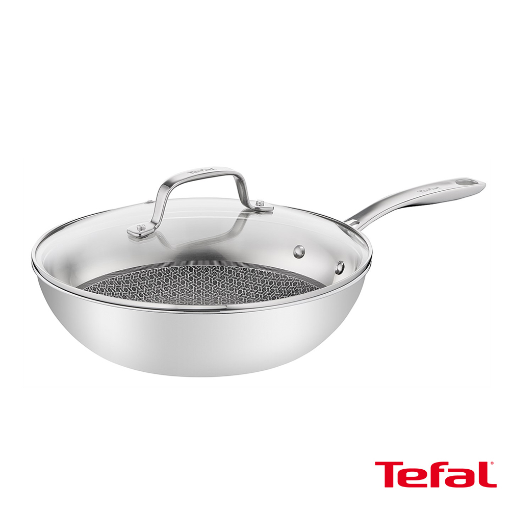 Tefal法國特福 抗磨不鏽鋼系列28CM蜂巢式炒鍋(加蓋) SE-E4971634