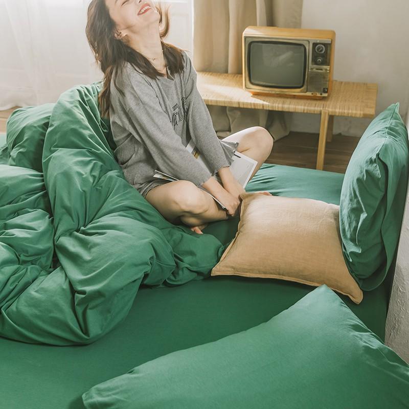 超值價 全棉天竺棉超柔床單四件套純色4件套床上用品純棉被套床罩床笠款